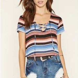 ⚡️Forever 21 | Stripped Lace-up Crop⚡️